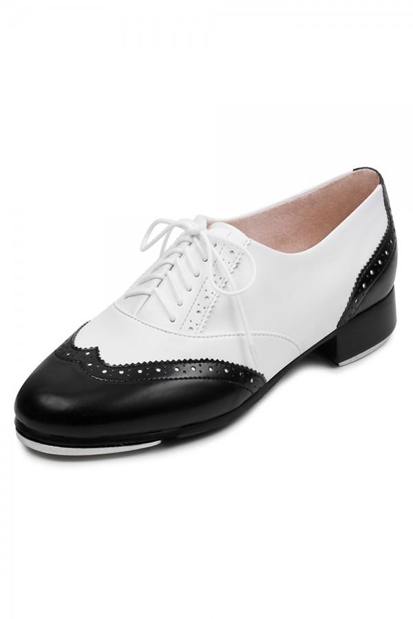 black white charleston tap shoes